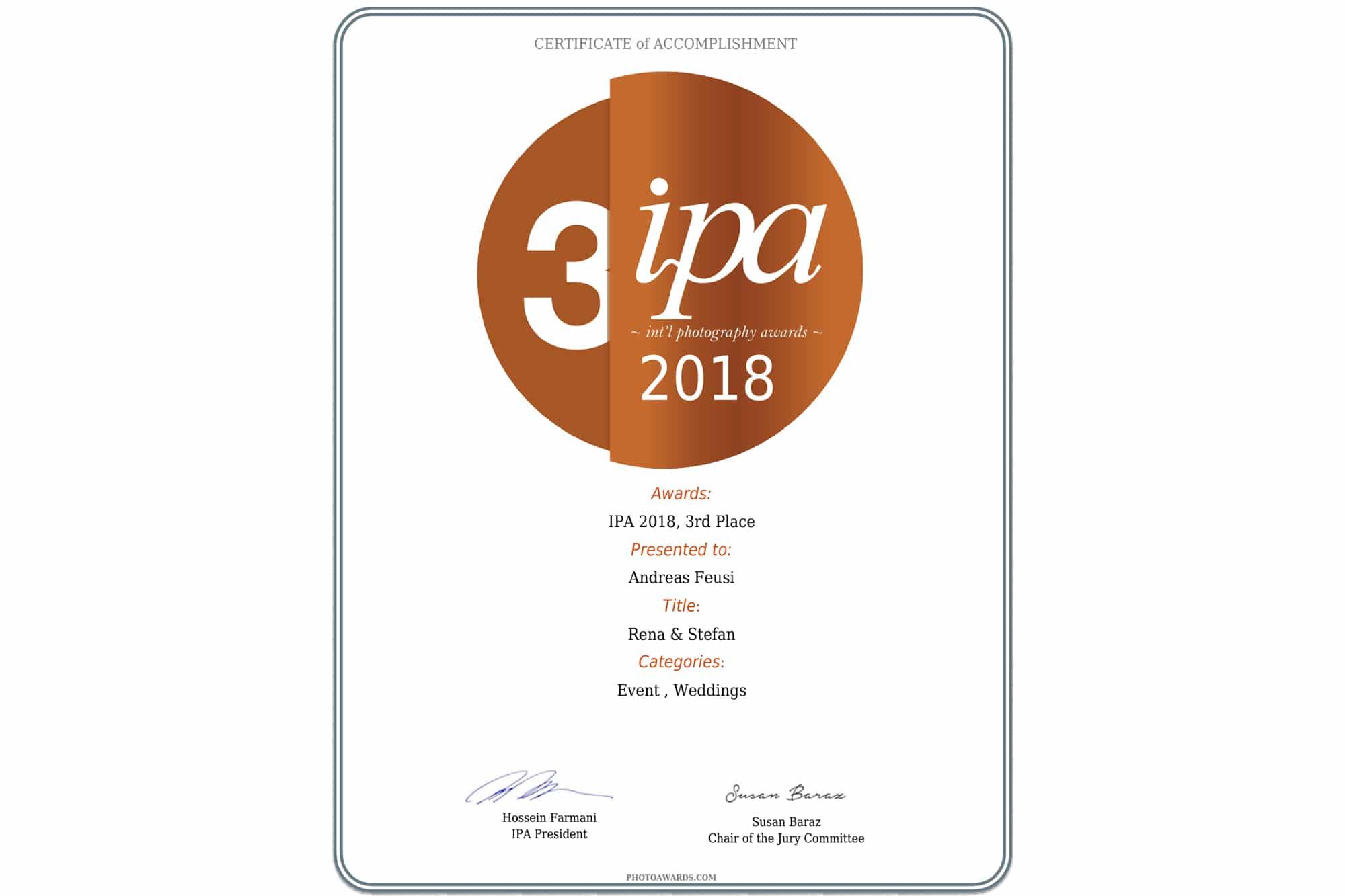 Zertifikat 3. Platz Gewinner IPA