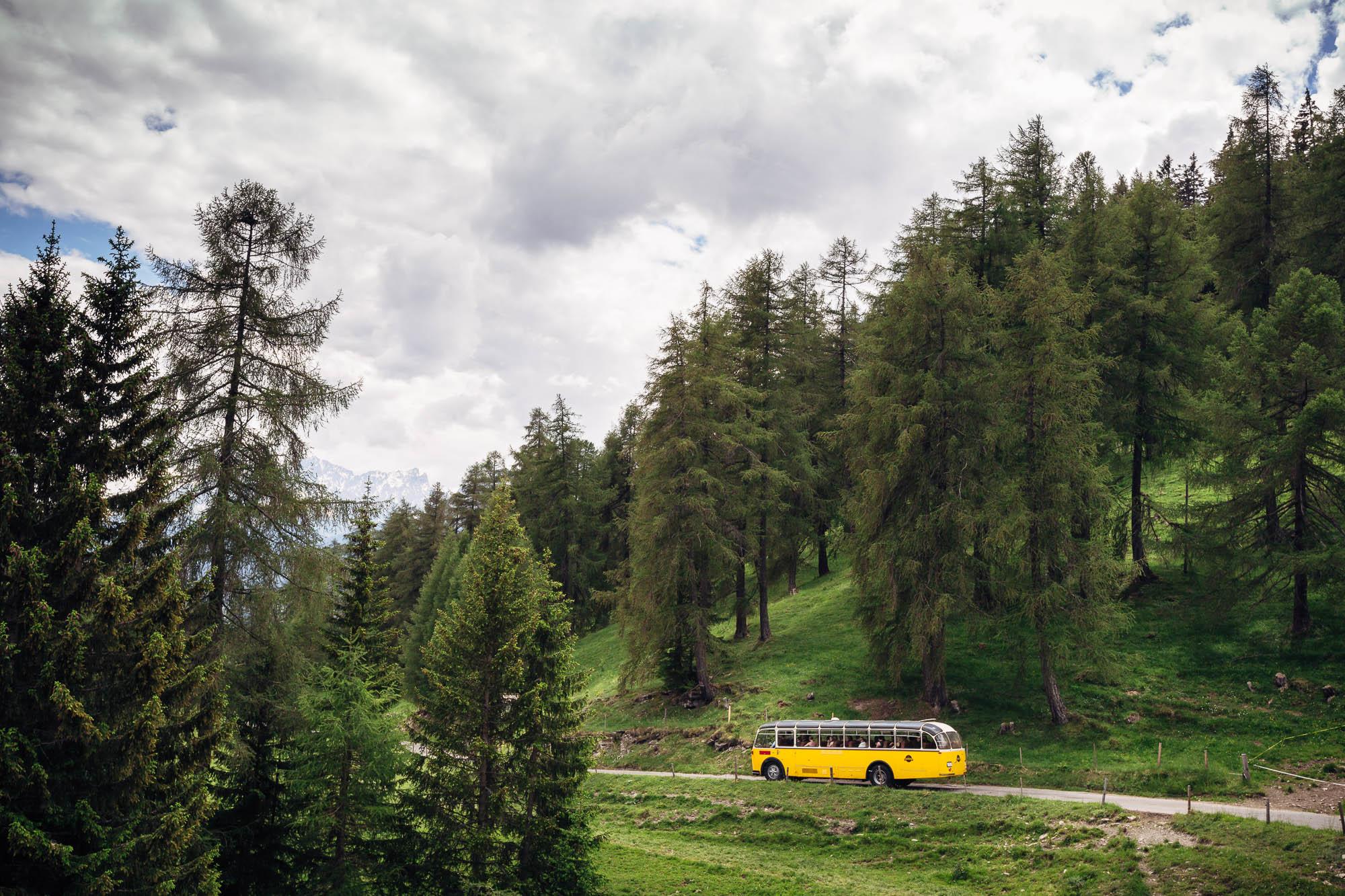 Postauto zwischen Lärchen in Sporz