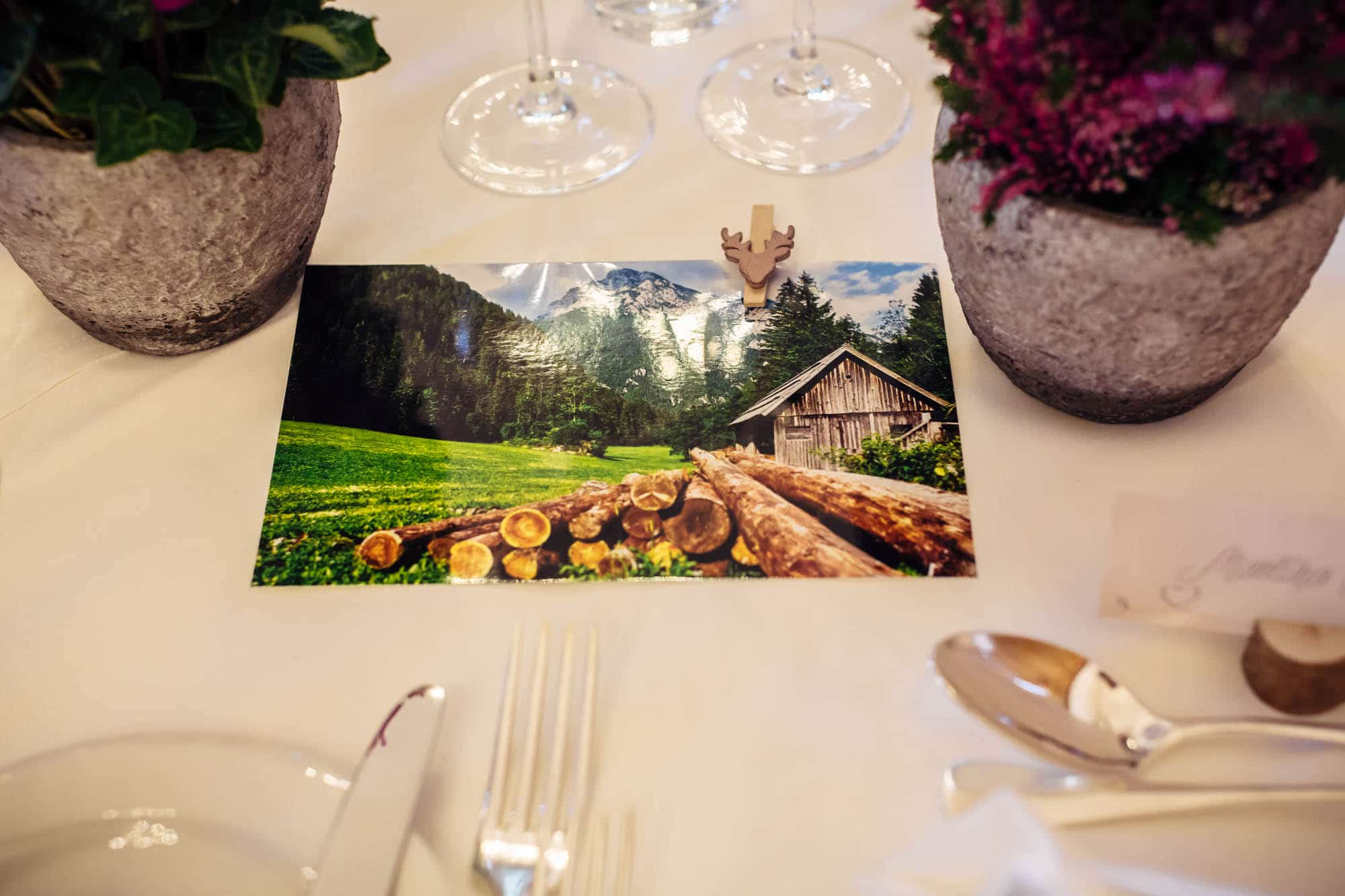 Dekoration mit Postkarte