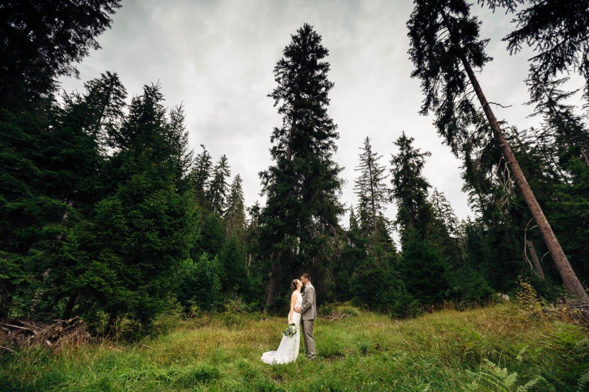 Hochzeitsfotograf in Laax mit Brautpaarfotos im Wald