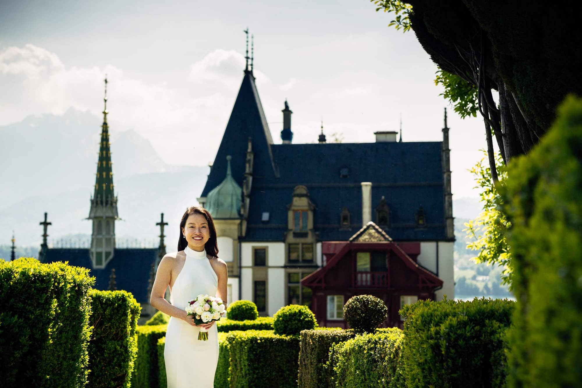 Brautportrait mit Schloss Meggenhorn und Pilatus im Hintergrund