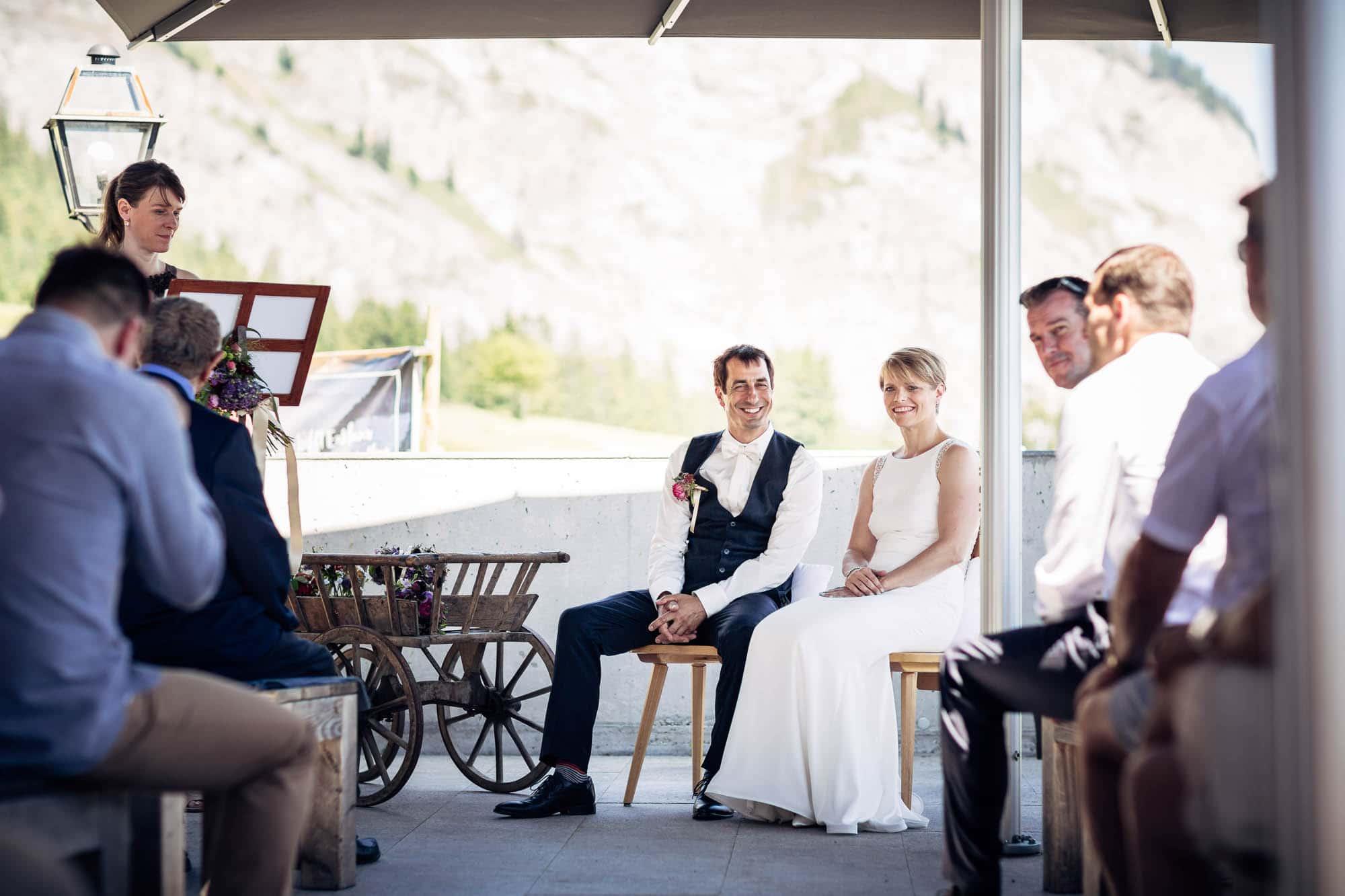 Hochzeitsfotograf Flims. Hochzeitsfotos Berghaus Foppa Flims