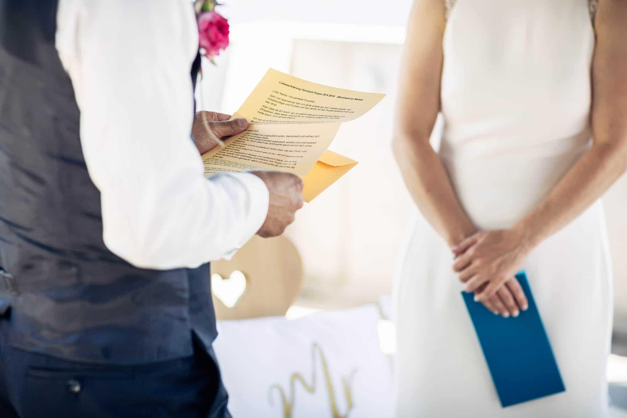 Detail persönliche Notizen Eheversprechen