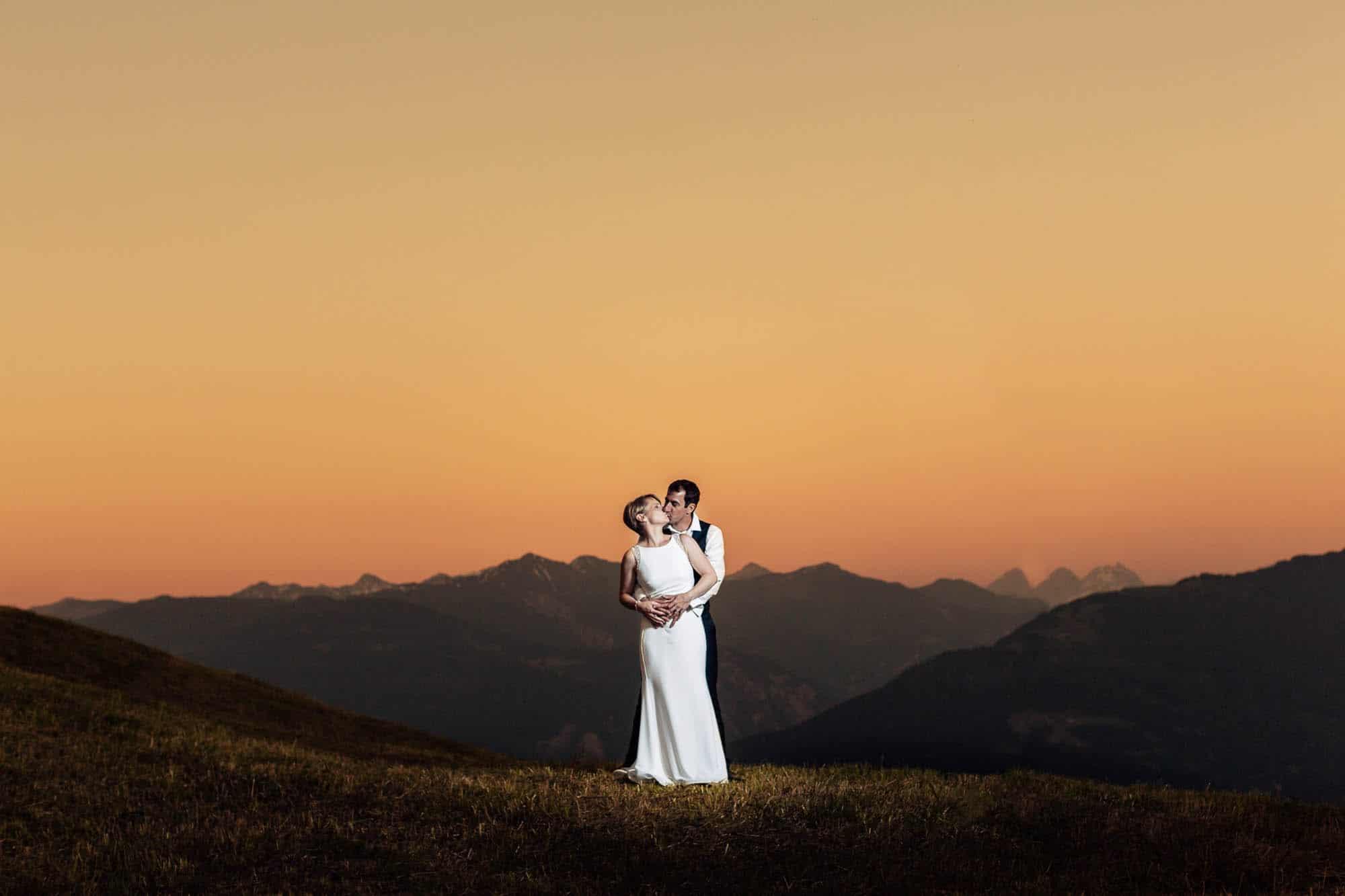 Hochzeitsfotos Flims Sonnenuntergang Bergen