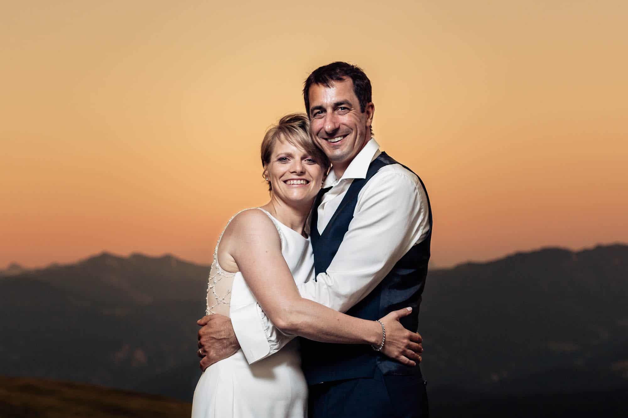 Abendstimmung Bündner Berge Hochzeit