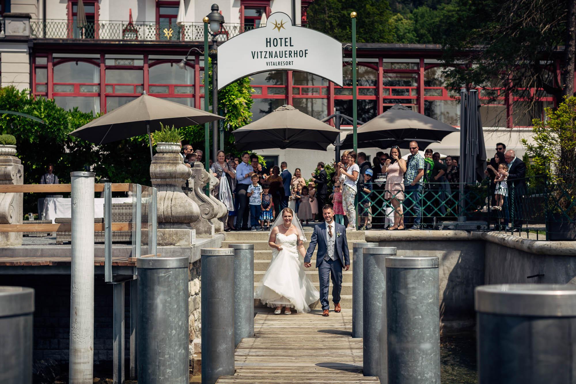 Fotos Hochzeit Vitznau auf dem Schiffsteg