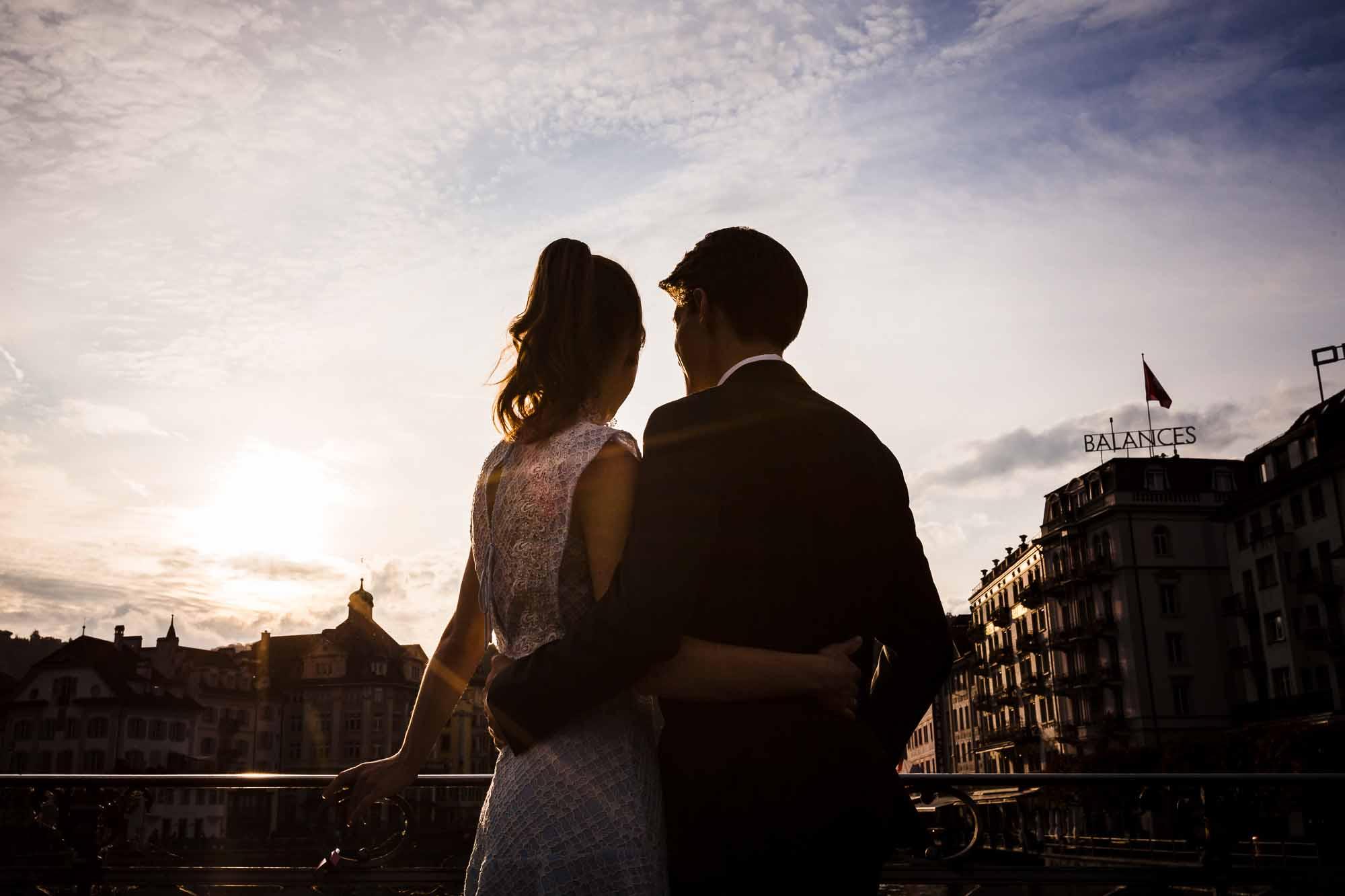 Brautpaar bei Abendstimmung in Luzern