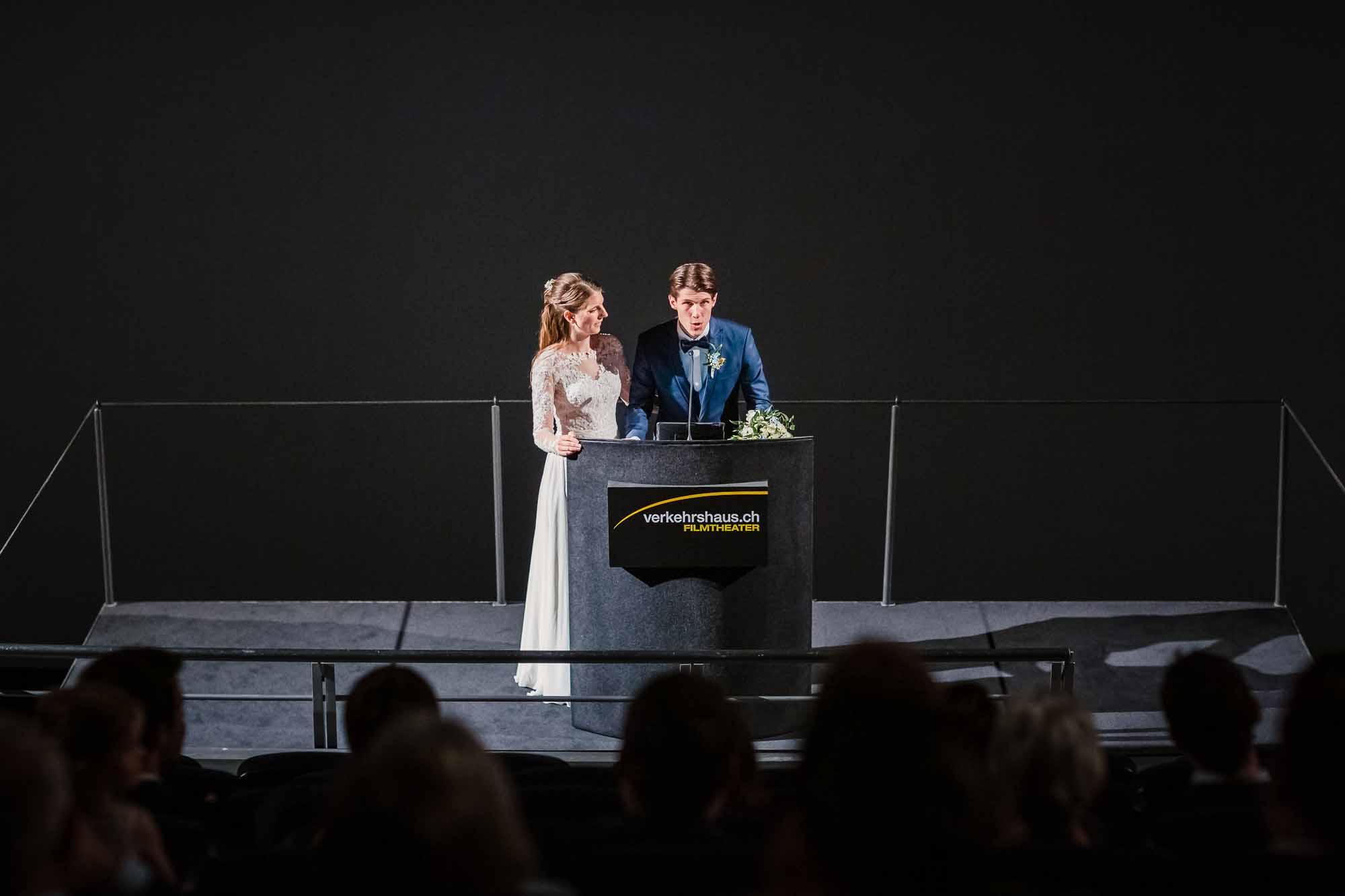 Ansprache vom Brautpaar im IMAX