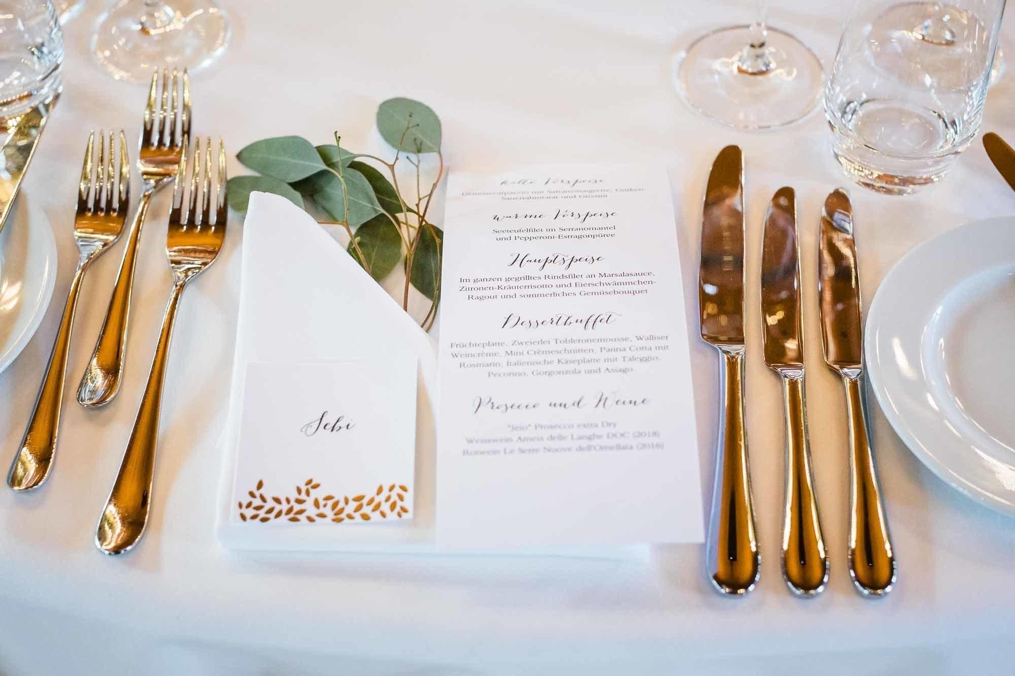 Menukarte und Dekoration auf Tisch Tischdekoration Hochzeit Bocken Horgen